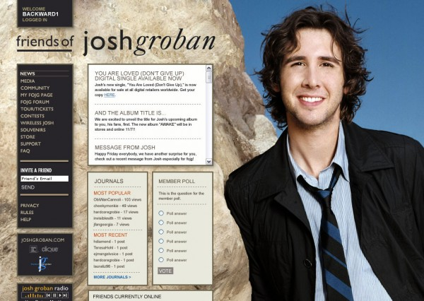 Friends of josh groban official website